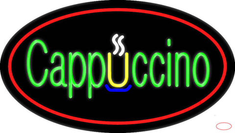 Cappuccino Oval Red Real Neon Glass Tube Neon Sign