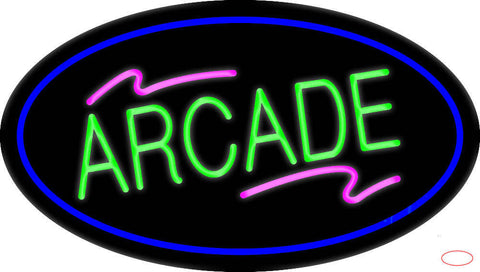 Arcade Oval Blue Real Neon Glass Tube Neon Sign
