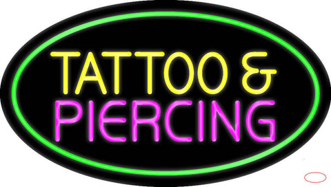 Oval Tattoo and Piercing Green Border Real Neon Glass Tube Neon Sign