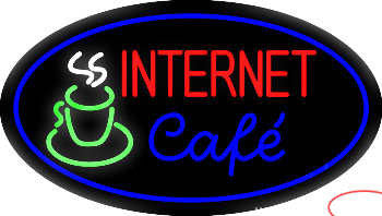 Oval Internet Cafe Real Neon Glass Tube Neon Sign