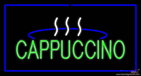 Cappuccino Logo Rectangle Blue Real Neon Glass Tube Neon Sign