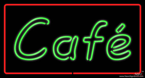 Cafe Rectangle Red Real Neon Glass Tube Neon Sign