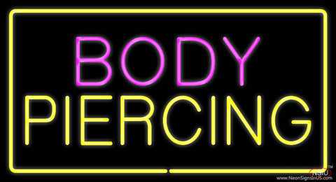 Body Piercing Rectangle Yellow Real Neon Glass Tube Neon Sign