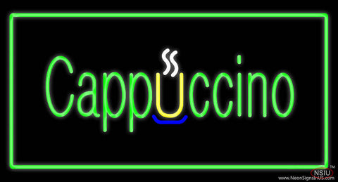 Cappuccino Rectangle Green Real Neon Glass Tube Neon Sign