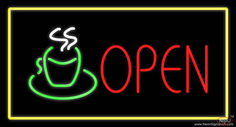 Open Rectangle Coffee Logo Yellow Real Neon Glass Tube Neon Sign