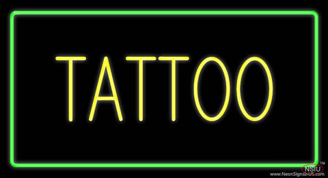 Yellow Tattoo Green Border Real Neon Glass Tube Neon Sign