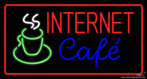 Red Internet Cafe with Coffee Mug Real Neon Glass Tube Neon Sign