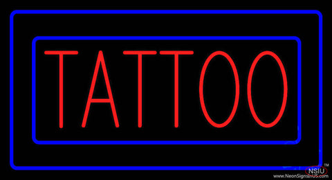 Red Tattoo Blue Borders Real Neon Glass Tube Neon Sign