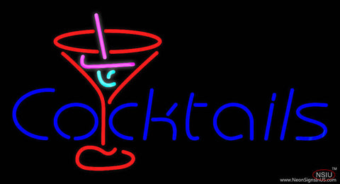 Cocktail Real Neon Glass Tube Neon Sign with Red Cocktail Glass