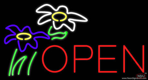 Flowers Logo Block Open Real Neon Glass Tube Neon Sign