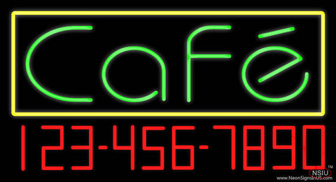 Green Cafe with Phone Number Real Neon Glass Tube Neon Sign