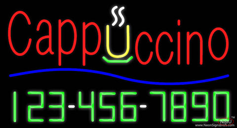 Cappuccino with Phone Number Real Neon Glass Tube Neon Sign