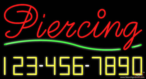 Cursive Piercing with Phone Number Real Neon Glass Tube Neon Sign