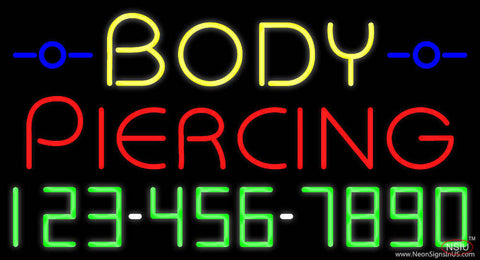 Body Piercing with Phone Number Real Neon Glass Tube Neon Sign