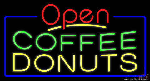 Red Open Coffee Donuts Real Neon Glass Tube Neon Sign