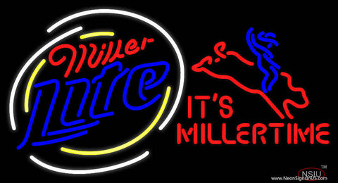 Miller Lite Rodeo Bull Rider - Its Miller Time Beer Real Neon Glass Tube Neon Sign