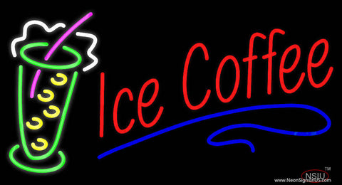 Red Ice Coffee with Glass Real Neon Glass Tube Neon Sign