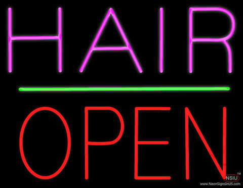 Hair Block Open Green Line Real Neon Glass Tube Neon Sign