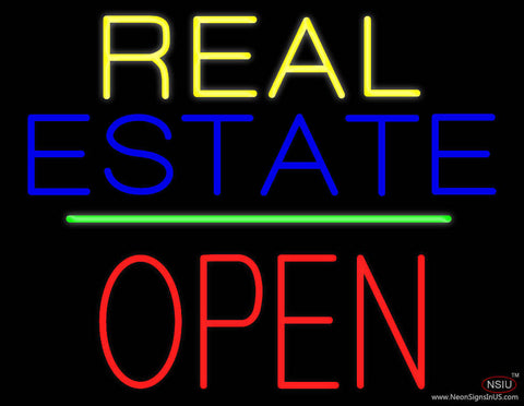 Real Estate Block Open Green Line Real Neon Glass Tube Neon Sign
