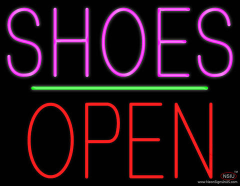 Shoes Open Block Green Line Real Neon Glass Tube Neon Sign