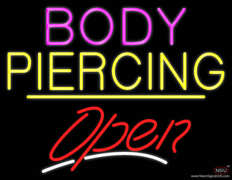 Body Piercing Open Yellow Line Real Neon Glass Tube Neon Sign