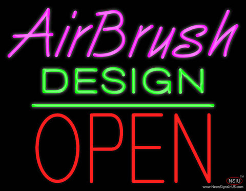 Airbrush Design Block Open Green Line Real Neon Glass Tube Neon Sign