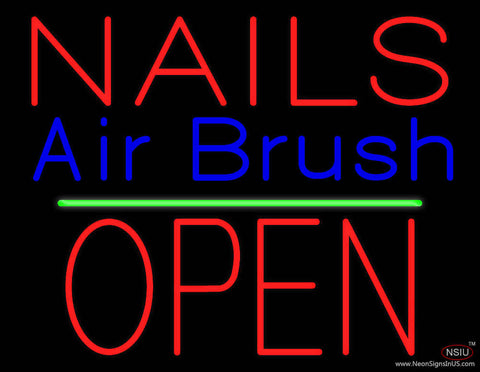 Nails Airbrush Block Open Green Line Real Neon Glass Tube Neon Sign