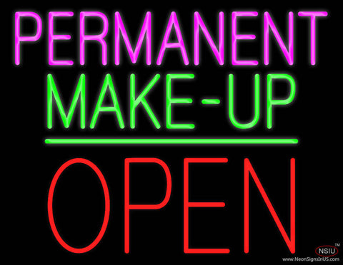 Permanent Make-up Block Open Green Line Real Neon Glass Tube Neon Sign