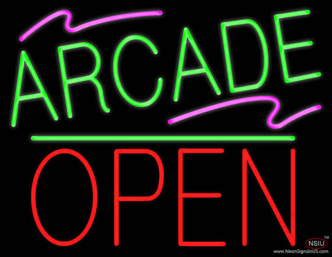 Arcade Block Open Green Line Real Neon Glass Tube Neon Sign
