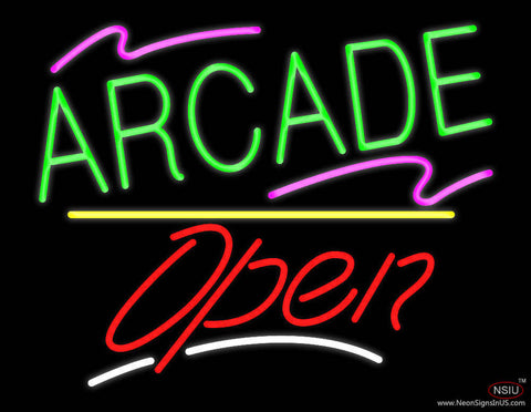 Arcade Open Yellow Line Real Neon Glass Tube Neon Sign