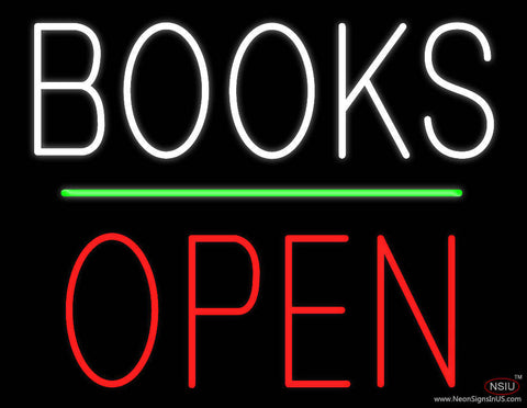 Books Block Open Green Line Real Neon Glass Tube Neon Sign