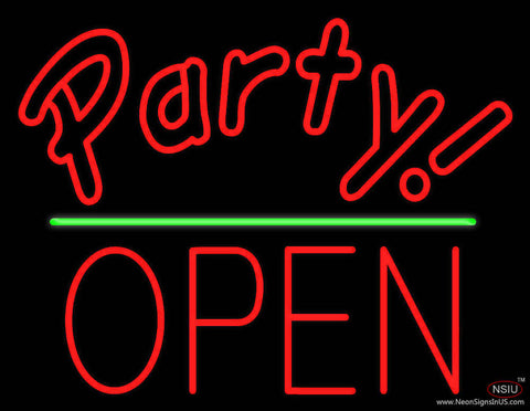 Party Green Line Open Block Real Neon Glass Tube Neon Sign