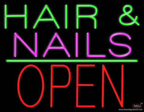 Hair and Nails Block Open Green Line Real Neon Glass Tube Neon Sign
