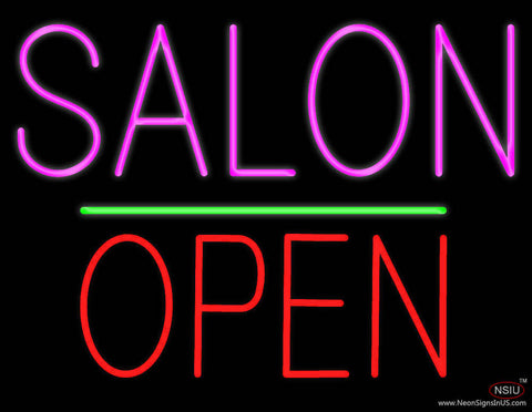 Salon Block Open Green Line Real Neon Glass Tube Neon Sign