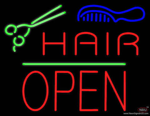 Hair Scissors Comb Block Open Green Line Real Neon Glass Tube Neon Sign