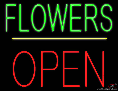 Flowers Block Open Yellow Line Real Neon Glass Tube Neon Sign