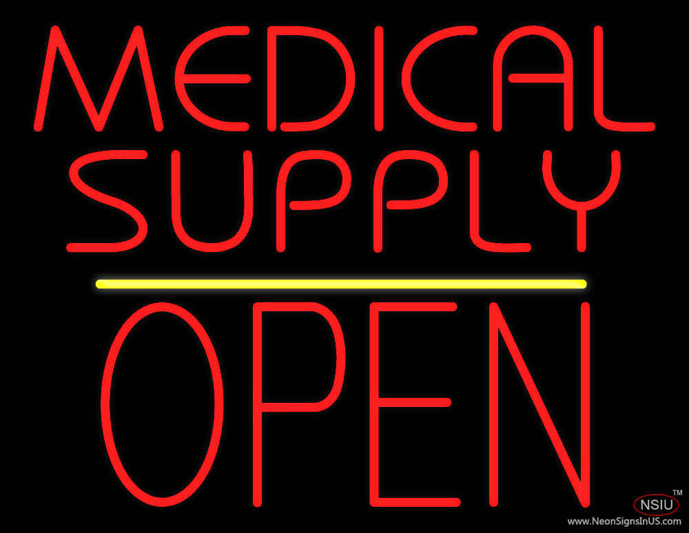 Medical Supply Block Open Yellow Line Real Neon Glass Tube Neon Sign