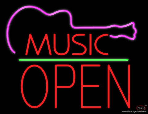 Music Green Line Open Block Real Neon Glass Tube Neon Sign