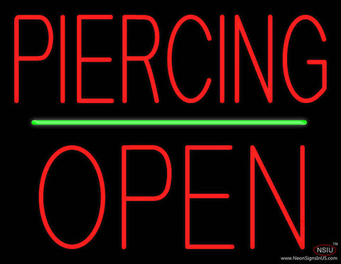 Piercing Block Open Green Line Real Neon Glass Tube Neon Sign