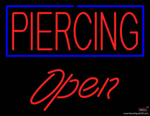 Piercing Blue Border Open Real Neon Glass Tube Neon Sign