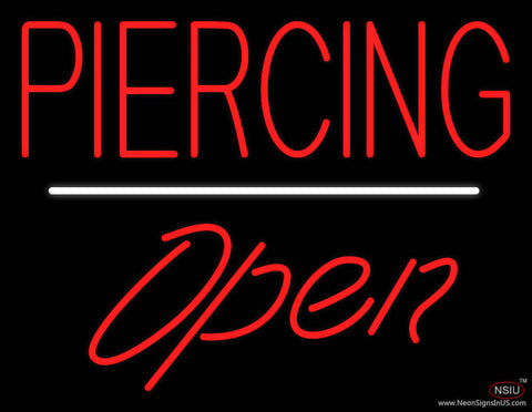 Piercing Open White Line Real Neon Glass Tube Neon Sign