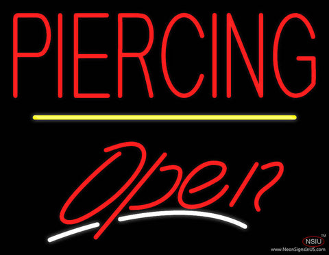 Piercing Open Yellow Line Real Neon Glass Tube Neon Sign