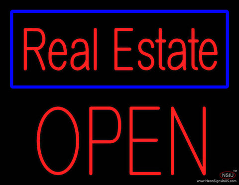 Real Estate Blue Border Block Open Real Neon Glass Tube Neon Sign