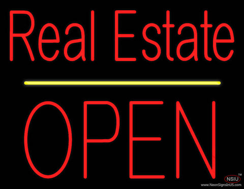 Real Estate Block Open Yellow Line Real Neon Glass Tube Neon Sign