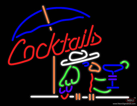 Cocktails Parrot Real Neon Glass Tube Neon Sign