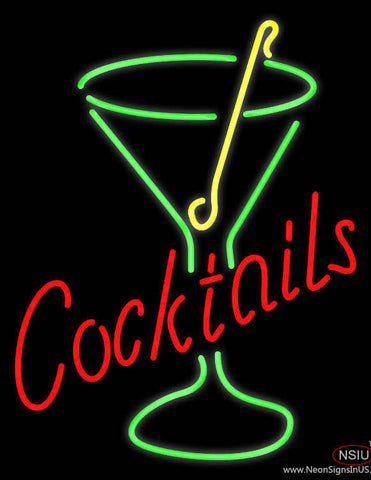 Rectangle Cocktail with Cocktail Glass Real Neon Glass Tube Neon Sign