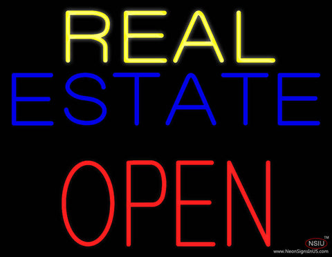 Real Estate Red Open Block Real Neon Glass Tube Neon Sign