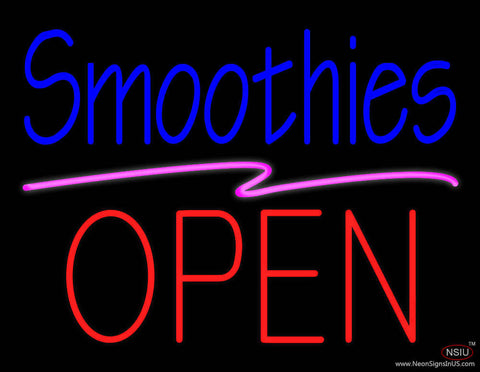 Blue Smoothies Block Red Open Real Neon Glass Tube Neon Sign