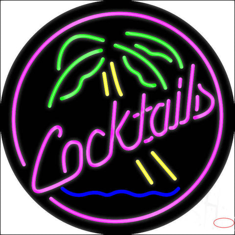 Pink Cocktail Oval Palm Tree Real Neon Glass Tube Neon Sign