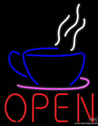 Open Coffee Cup Logo Real Neon Glass Tube Neon Sign